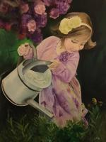 Just Another Diary - Girl With A Watering Can - Oil Paint