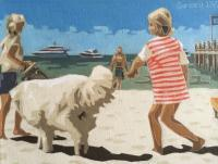 Summer Collection - Girl With A White Dog - Oil On Linen