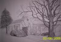A Friends House - Ink Drawings - By Richard Hall, Ink Drawings Drawing Artist