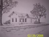 Orfordville Depot - Ink Drawings - By Richard Hall, Ink Drawings Drawing Artist
