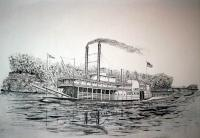 Riverboat Lake Surerior - Ink Drawings - By Richard Hall, Ink Drawings Drawing Artist