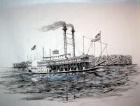 Riverboat Natchez - Ink Drawings - By Richard Hall, Ink Drawings Drawing Artist