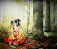 Children - Alone In The Forest - Oil On Canvas