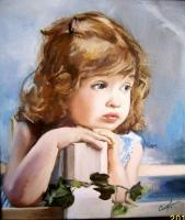 The Little One - Oil On Canvas Paintings - By Cublesan Maria Doina, Expressionism Painting Artist