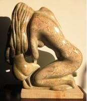 Kneeling Figures - Stone Sculptures - By Gordon Adams, Direct Carving Sculpture Artist