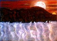 Moon River 5 - Pastel On Panel Paintings - By Brenda Spencer, Seascape Painting Artist
