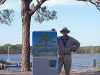 Artist Rudolf Megert In Panama City Beach Florida 2007 - Acrylics Paintings - By Rudolf Megert, Acrylic On Packaging Paper Painting Artist