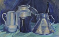Blue Still Life - Acrylic Paint On Thick Latex P Paintings - By Maria Evestus, Acrylics Still Life Painting Artist