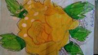Cards - Yellow Rose - Color Pencils Acrilics And Pen