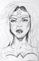 Drawings And Sketches - Wonder Woman Drawing - Pencil On Canvas