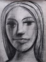Head Of A Woman - Charcoal Drawings - By Gareth Wozencroft, Classic Traditional Drawing Artist