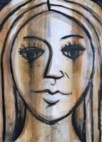 Head Of A Woman - Mixed Paintings - By Gareth Wozencroft, Classic And Traditional Painting Artist
