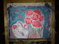 Paintings - Roses Still Life - Acrylic