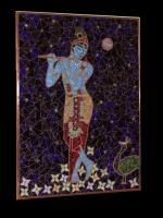 Krishna The Blue Boy With Flute And Peacock - Stained Glass Mosaic Paintings - By Tatiana Isotov, Glass Mosaic Painting Painting Artist