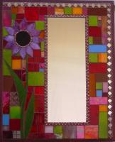 Art  Mirrors - Red Geometric Mirror With Pink And Black Flower - Stained Glass Mosaic