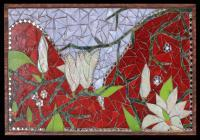 Magnolias And Valentines - Stained Glass Mosaic Paintings - By Tatiana Isotov, Glass Mosaic Painting Painting Artist