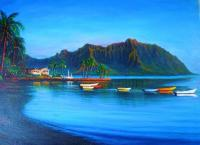 Kaneohe Bay - Early Morn - Oil On Canvas Paintings - By Joseph Ruff, Realism Painting Artist
