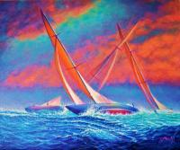 Sailingboats - Racing Wedge - Prof Qlty Oil On 3X P Cnv