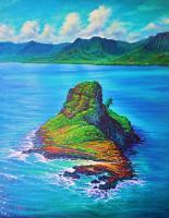 Mokolii Island - Prof Qlty Oil On 3X P Cnv Paintings - By Joseph Ruff, Realism Painting Artist