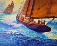 Sailingboats - Men Of Gloucester - Prof Qlty Oil On 3X P Cnv