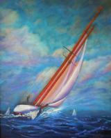 Sailingboats - Single Handed - Prof Qlty Oil On 3X P Cnv
