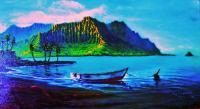 Sailingboats - Kaneohe Bay Aftrnoon With Skiff - Prof Qlty Oil On 3X P Cnv