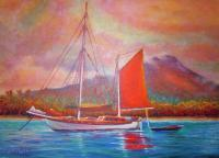 Sailingboats - Mango Sail - Prof Qlty Oil On 3X P Cnv