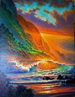 Napali Coast Sunset - Prof Qlty Oil On 3X P Cnv Paintings - By Joseph Ruff, Realism Painting Artist