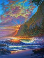 Sunset - Molokai Sunset -Hawaii - Prof Qlty Oil On 3X P Cnv