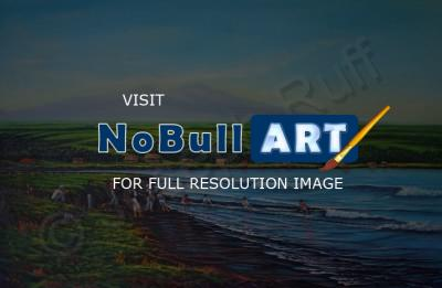 Seascapes - Hilo Bay Net Fisherman - Prof Qlty Oil On 3X P Cnv
