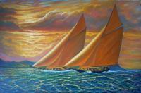 Sailingboats - Golden Sails - Prof Qlty Oil On 3X P Cnv