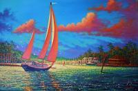 Sailingboats - Safe Harbour - Prof Qlty Oil On 3X P Cnv