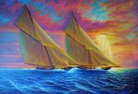 Sailingboats - Magnificent Sea - Prof Qlty Oil On 3X P Cnv