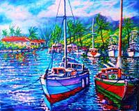 Afternoon Reflections Kaneohe Bay - Prof Qlty Oil On 3X P Cnv Paintings - By Joseph Ruff, Immpresionism Painting Artist