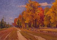 Multiple - Original Oil Painting Golden Autumn - Oil On Cardboard