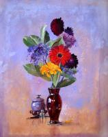 Flower Paintings - Bouquet With Reliquary - Casein On Paper