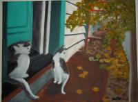 My Paintings - Cats In The Alley - Oil On Canvas