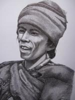 A Thakuri Man - Pen And Permanent Indian Ink Drawings - By Sushil Thapa, People And Portrait Reaslistic Drawing Artist