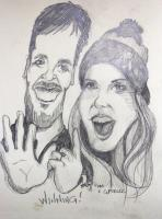Caricatures - Tom  Giselle - Pencil