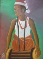 African Culture - The Drummer - Oil On Canvas