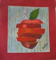 Sliced Apple - Oil On Paper Paintings - By Giddalti Ugo Chinye-Ikejiunor, Natural Painting Artist
