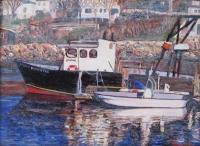 Boats - Black Boat Reflections - Oil
