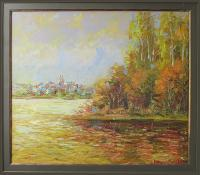 City Lake - Oil  Cardboard Paintings - By Liudvikas Daugirdas, Impressionism Painting Artist