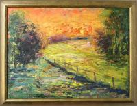 Sunset - Oil On Canvas Paintings - By Liudvikas Daugirdas, Impressionism Painting Artist