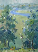 Landscape - View To The River - Oil On Canvas