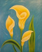 Flowers - Three Yellow Lillies - Acrylic
