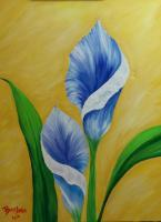 Flowers - Two Blue Lillies - Acrylic