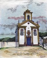 Merces De Cima Church Ouro Preto Brazil - Mixed Media Drawings - By Anna Helena Fisher, Architectural Drawing Artist