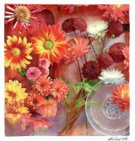 Mums And Dahlias - Pencil And Paper Printmaking - By Anna Helena Fisher, Collage Printmaking Artist