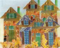Landscape - Stacked Houses - Mixed Media